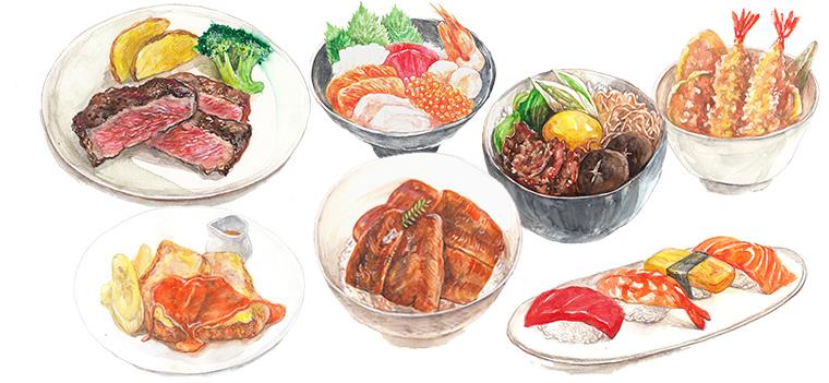 スペシャルメニュー ステーキ すき焼き丼 フレンチトースト 海鮮丼 天丼